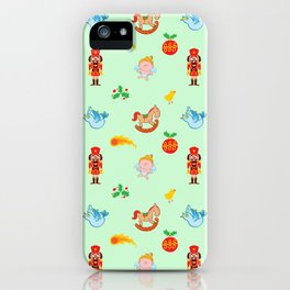 Nutcracker, rocking horse, angel and bird Christmas pattern iPhone Case