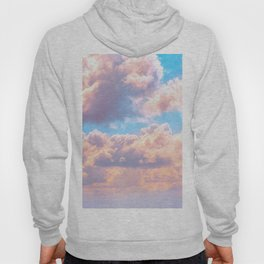 Beautiful Pink Cotton Candy Clouds Against Baby Blue Sky Fairytale Magical Sky Hoody