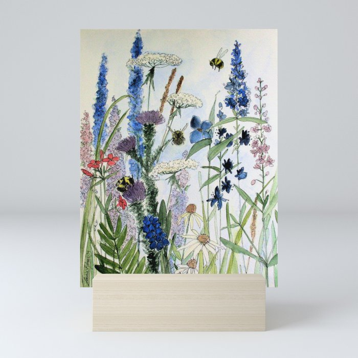 Wildflower in Garden Watercolor Flower Illustration Painting Mini Art Print