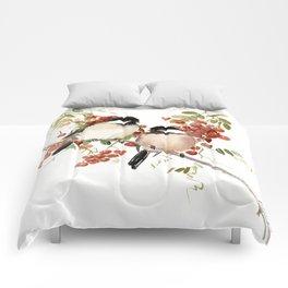 Chickadee Bird Vintage Bird Artwork Comforters