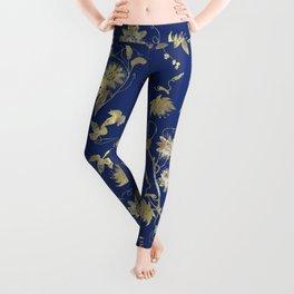 Elegant Gold Blue Passiflora Pattern Leggings