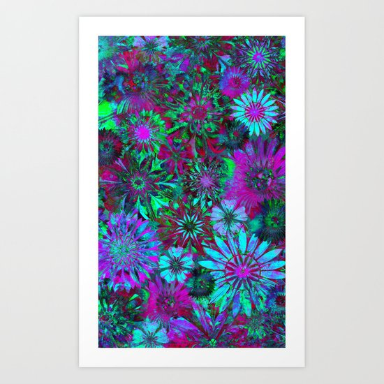 Rivalry of Flowers - green & lilac Art Print