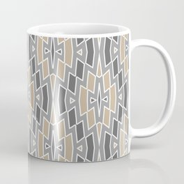 Tribal Diamond Pattern in Gray and Tan Coffee Mug