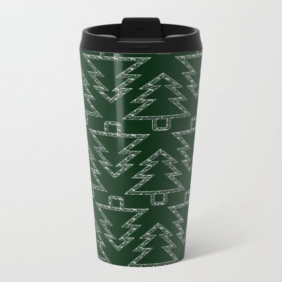 Merry Christmas- Abstract christmas tree pattern on festive green Metal Travel Mug