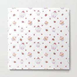 Cute lavender pink strawberries sweet cupcake pattern Metal Print