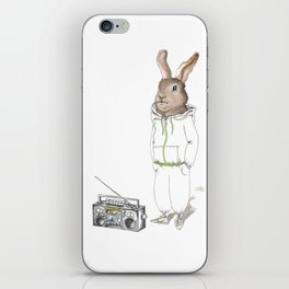 Too Hip to Hop -- watercolor bunny in a track suit print by Monica Martino iPhone Skin