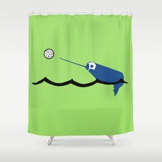 Water Polo Narwhal Shower Curtain