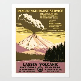 Vintage poster - Lassen Volcanic National Park Art Print