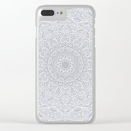 Most Detailed Mandala! Cool Gray White Color Intricate Detail Ethnic Mandalas Zentangle Maze Pattern Clear iPhone Case