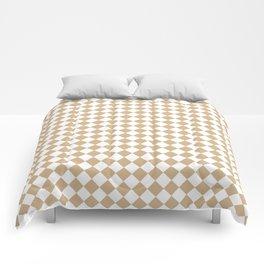 Small Diamonds - White and Tan Brown Comforters