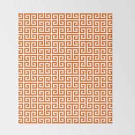 Orange and White Greek Key Pattern Throw Blanket