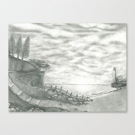 Light House - B/W Pencil Work Canvas Print