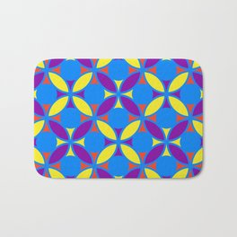 Geometric Floral Circles Vibrant Color Challenge In Bold Red Yellow Purple & Blue Bath Mat