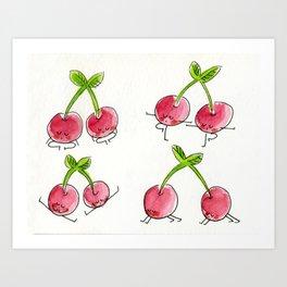 Cherries doing yoga Art Print