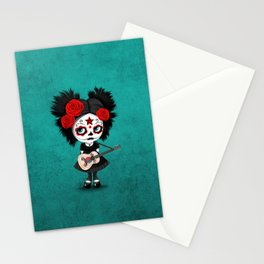 Day of the Dead Girl Playing South Korean Flag Guitar Stationery Cards