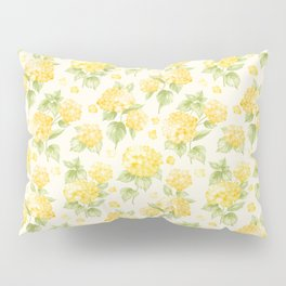 Modern  sunshine yellow green hortensia flowers Pillow Sham