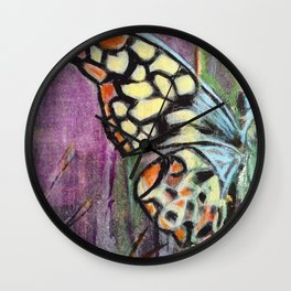 The Yellow Butterfly - by Toni Wright Wall Clock