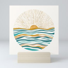 The Sun and The Sea - Gold and Teal Mini Art Print