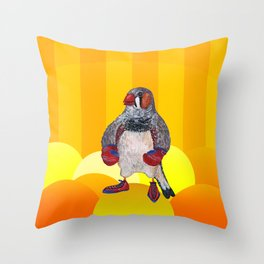 The Energetic Zebra Finch with Boxing Gloves Throw Pillow