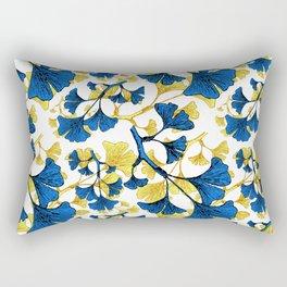 Ginko Biloba - A Blue and Yellow Nature Inspired Print Rectangular Pillow