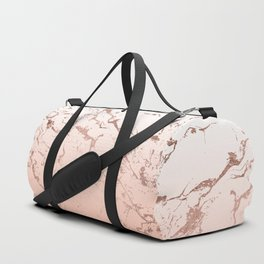 Pink blush white ombre gradient rose gold marble pattern Duffle Bag