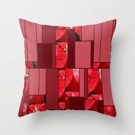 Mottled Red Poinsettia 2 Art Rectangles 8 Throw Pillow