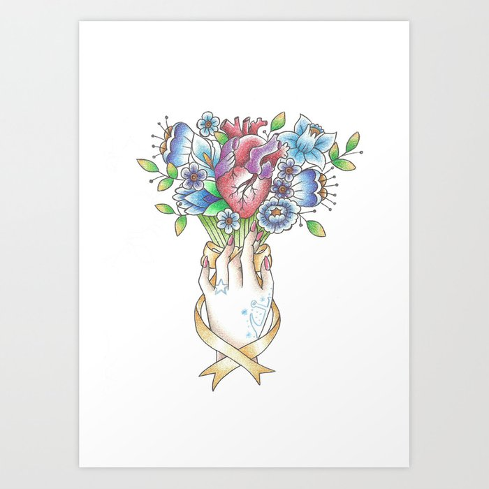 Valentine's Day Hearts and Flowers: Sailor Jerry Style Art Print