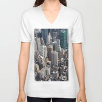 manhattan V-neck T-shirts featuring Midtown Manhattan by davehare