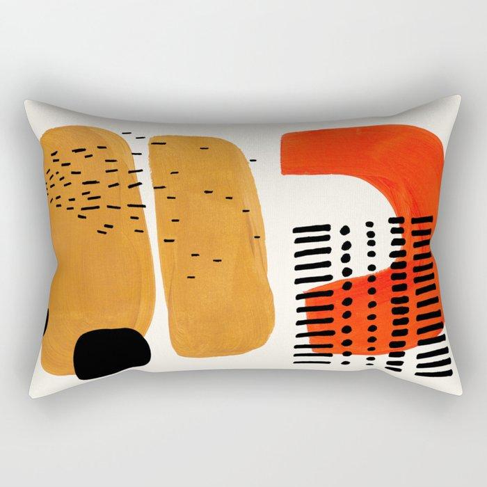 Mid Century Modern Abstract Minimalist Retro Vintage Style Fun Playful Ochre Yellow Ochre Orange Sha Rectangular Pillow