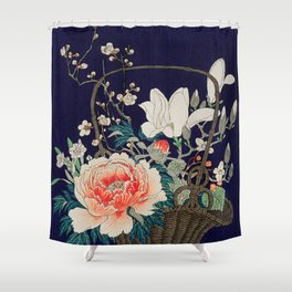 Flower basket - Japanese vintage woodblock print Shower Curtain