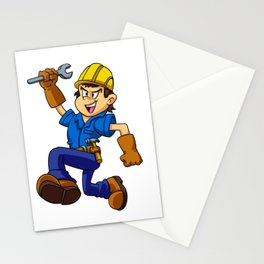 Running man with a wrench Stationery Cards