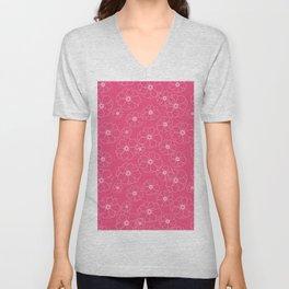 Pink seamless Floral pattern Unisex V-Neck