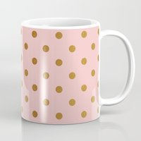 bisexual Mugs featuring Golden polka dots on rose gold backround   by Better HOME