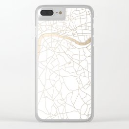 White on Gold London Street Map Clear iPhone Case