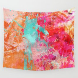 Paint Splatter Turquoise Orange And Pink Wall Tapestry