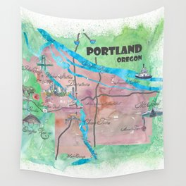 Portland Oregon Travel Poster Map with Touristic Highlights Wall Tapestry