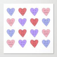 carmilla Canvas Prints featuring carmilla candy hearts by mircalla