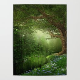 Summer Forest River Poster