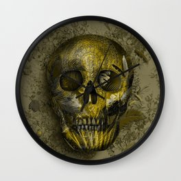 skull gold art decor Wall Clock