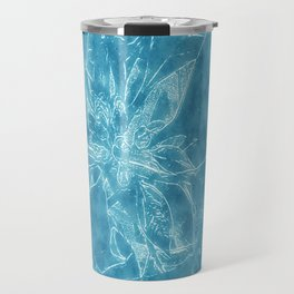Pale Yellow Poinsettia 1 Outlined Blue Travel Mug