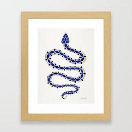 Navy & Gold Serpent Framed Art Print