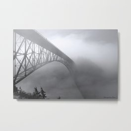 Foggy Deception Pass Metal Print