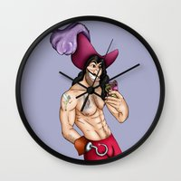 captain hook Wall Clocks featuring Captain Hook Selfie - Peter Pan by Hungry Designs