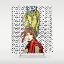 Bend the Knee - Queen B Drawing on Black and White Pattern Background Shower Curtain