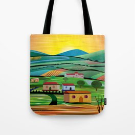 Sunset over Fields Tote Bag