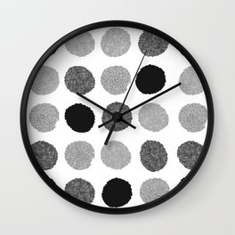 Yves - greyscale monochrome minimal pattern dots art print cell phone case for modern decor Wall Clock