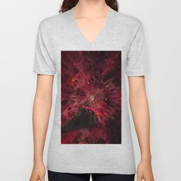 Dark Red Hidden Mandala Design Unisex V-Neck