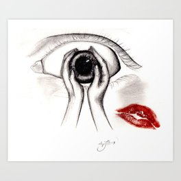 Hands holding an eye with the kiss of my own lips Art Print