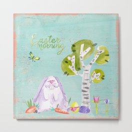 Easter Morning I- Animal Rabit Hare Bunny Spring for children Metal Print
