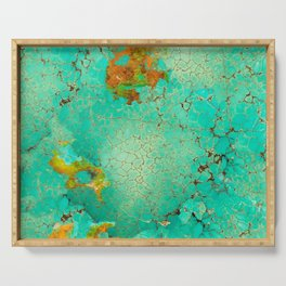 Crackeled Turquoise Stone Serving Tray